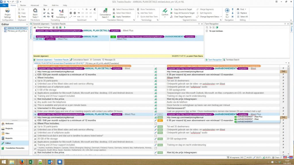 Screenshot of the SDL Trados Studio translation software editor.